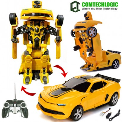 2.4Ghz Comtechlogic® CM-2170 Chevrolet Camaro Rc Radio Remote Control Bumblebee Style Transformers Drifting Car & Robot with one touch transforming