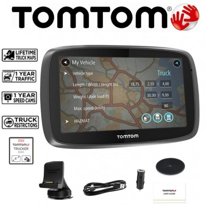TomTom Trucker 6000 Truck HGV GPS Sat Nav with Free EU Lifetime Map Updates and 1 year Traffic Updates