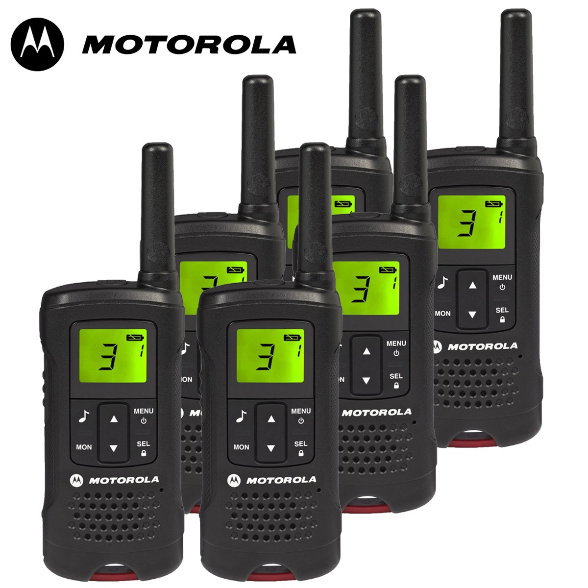8km motorola tlkr t60 walkie talkie 2 two way radio six pack. Black Bedroom Furniture Sets. Home Design Ideas