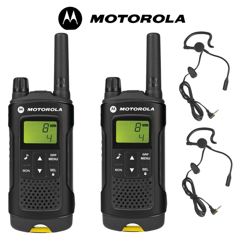 8km motorola xt180 pmr walkie talkie two way radio twin pack 2 headsets with boom mics. Black Bedroom Furniture Sets. Home Design Ideas