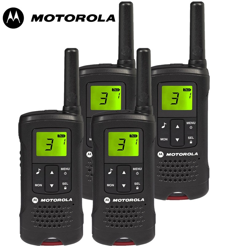 8km motorola tlkr t60 walkie talkie 2 two way radio quad pack. Black Bedroom Furniture Sets. Home Design Ideas