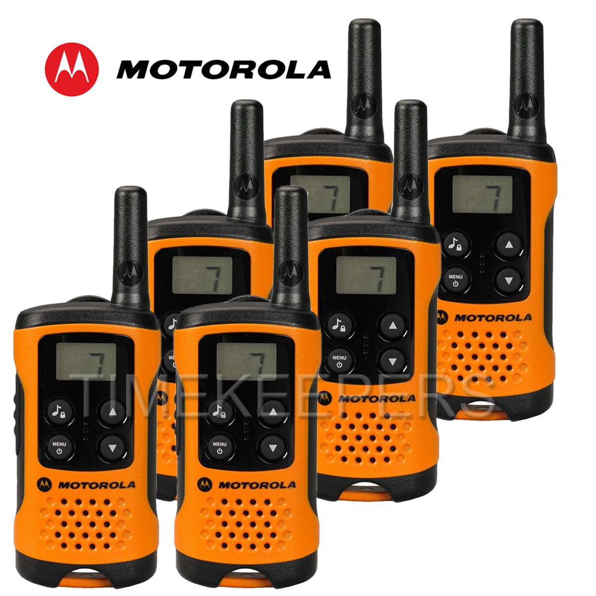 4km motorola tlkr t41 walkie talkie 2 two way pmr 446 compact radio set six orange. Black Bedroom Furniture Sets. Home Design Ideas