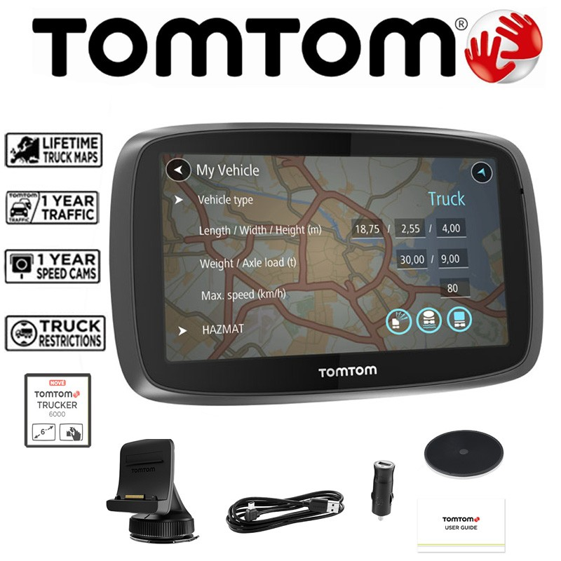 tomtom trucker 6000 truck hgv gps sat nav with free eu. Black Bedroom Furniture Sets. Home Design Ideas