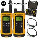 10Km Motorola TLKR T80 Extreme Two Way Radio Walkie Talkie Travel Pack with 2 x Comtech CM-215TH PTT/VOX Throat mics for Skiing & Go Karting - Twin