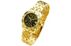 Gents Oskar Emil Caesium 1119G 23K Gold Chronograph Sports Watch with Black Dial RRP £ 345