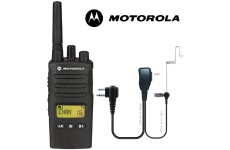 8Km Motorola XT460 Two Way PMR 446 Walkie Talkie Licence Free Radio with Comtech CM-60PT PTT Headset for Business & Military Use