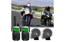 10Km Binatone Action 1100 Motorbike Walkie Talkie Radio Intercom Kit with HM-500 Close Face PTT Headsets