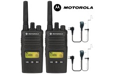 8Km Motorola XT460 Two Way PMR 446 Walkie Talkie Licence Free Radio Twin Pack with 2 x Comtech CM-60PT PTT Headset for Business & Military Use