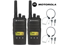 8Km Motorola XT460 Two Way PMR 446 Walkie Talkie Licence Free Radio Twin Pack with 2 x Comtech CM-515TH PTT/VOX Throat mic Headset for Business & Military Use