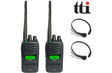 TTi TX-2000U 5W Waterproof IP67 Submersible PMR 446 Radio Transceivers + 2 Comtech CM-415TH PTT/VOX Throat Mic Headsets