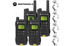 8Km Motorola XT180 PMR Walkie Talkie TWO WAY RADIO Quad pack + 4 headsets with boom Mics
