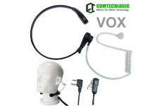Comtechlogic CM-415TH Handsfree Covert Acoustic Tube Throat Mic Headset with PTT/VOX for iCom Two way Radios