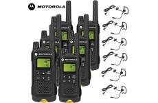 8Km Motorola XT180 PMR Walkie Talkie TWO WAY RADIO Six pack + 6 headsets with boom Mics