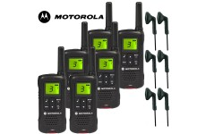 8Km Motorola TLKR T60 Walkie Talkie 2 Two Way Radio Six Pack + 6 x Comtech CM-30PT PTT Headsets