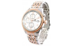 Gents Oskar Emil Fribourgh 23K Gold Steel Chronograph Watch with White Dial RRP £295