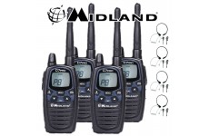 12Km Midland G7 Pro Dual Band Long Range Two Way PMR 446 Licence Free Radios with 4 x Comtech CM-415TH PTT/VOX Throat mics for Skiing & Go KartinG - Quad pack