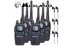 12Km Midland G7 Pro Dual Band Long Range Two Way PMR 446 Licence Free Radio Six Pack + 6 x Comtech CM-50PT Headsets