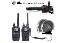 12km Midland G7 Pro Dual Band Motorbike Walkie Talkie PMR Radio Intercom kit with HM-900 Close Face PTT Headsets
