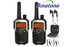 10Km Binatone Action 1100 Two Way Radio Walkie Talkie Travel Pack With 2 Headsets and 2 Car Chargers