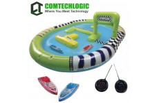 Comtechlogic® CM-2185 2 x Rechargeable Remote Radio Control RC Racing Boats With Inflatable Pool EP