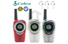 8Km Cobra Soho Two Way PMR 446 Walkie Talkie Licence Free Radio + 3 Headsets