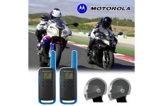 Motorola T62 Blue Motorbike Walkie Talkie PMR Radio Intercom Close Face Headsets