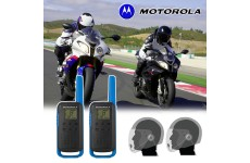 Motorola T62 Blue Motorbike Walkie Talkie PMR Radio Intercom Open Face Headsets