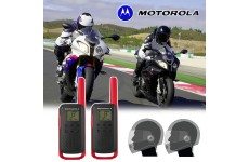 Motorola T62 Red Motorbike Walkie Talkie PMR Radio Intercom Close Face Headsets