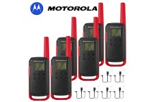 8Km Motorola TLKR T62 Walkie Talkie Two Way Licence Free 446 PMR Security Leisure Radio – Six Pack Red + 6 Headsets