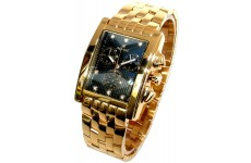 Oskar Emil Gents Rodez Limited Edition 23ct Gold Plated 7 Diamond Chronograph Watch with Black Dial RRP 395