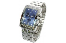 Gents Oskar Emil Rodez Steel 7 Diamond Chronograph Watch with Blue Dial RRP £375