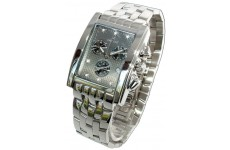 Gents Oskar Emil Rodez Steel 7 Diamond Chronograph Watch with Grey Dial RRP £375