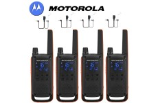 10Km Motorola TLKR T82 Walkie Talkie Two Way Licence Free PMR 446 Radio For Security Leisure Quad Pack + 4 Headsets