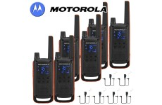 10Km Motorola TLKR T82 Walkie Talkie Two Way Licence Free PMR 446 Radio For Security Leisure Six Pack + 6 Headsets