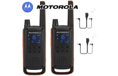 10Km Motorola TLKR T82 Walkie Talkie Two Way Licence Free PMR 446 Radio For Security Leisure Twin Pack + 2 Headsets