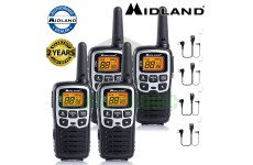 8km Midland XT50 Licence Free 2 Two Way Walkie Talkie PMR446 Radio + 4 Headsets