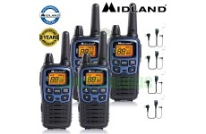10km Midland XT60 License Free 2 Two Way Walkie Talkie PMR446 Radio 4 Headsets