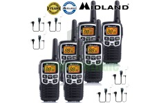 8km Midland XT50 Licence Free 2 Two Way Walkie Talkie PMR446 Radio + 6 Headsets