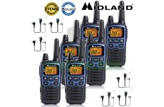 10km Midland XT60 License Free 2 Two Way Walkie Talkie PMR446 Radio 6 Headsets