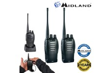 Midland G10 PMR446 License Free Handheld Two Way Radio Walkie Talkie Twin Black
