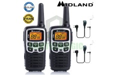 8km Midland XT50 License Free 2 Two Way Walkie Talkie PMR446 Radio + 2 Headsets