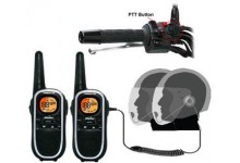 8Km Binatone Terrain 750 Motorbike Walkie Talkie Radio Intercom Kit with HM-600 Open Face PTT Headsets