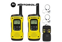 10Km Motorola TLKR T92 H2O Floating Two Way Radio Walkie Talkie Travel Pack with 2 x Comtech CM-215TH PTT/VOX Throat Mics - Twin