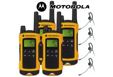 10Km Motorola TLKR T80 Extreme Two Way Radio Walkie Talkie Travel Pack with 4 x Headsets for Skiing & Go Karting - Quad