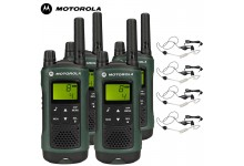 10Km Motorola TLKR T81 Hunter Two Way Radio Walkie Talkie Travel Pack with 4 x Headsets for Air soft, Paintballing, Skiing & Go Karting - Quad