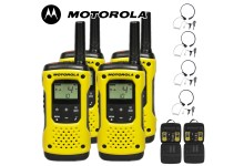 10Km Motorola TLKR T92 H2O Floating Two Way Radio Walkie Talkie Travel Pack with 4 x Comtech CM-215TH PTT/VOX Throat Mics - Quad