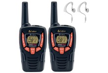 8Km Cobra AM645 Two Way PMR 446 Walkie Talkie Licence Free Radio + 2 x Comtech CM-15PT PTT Handsfree Headsets - Twin pack