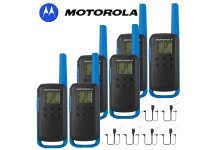 8Km Motorola TLKR T62 Walkie Talkie Two Way Licence Free 446 PMR Security Leisure Radio – Six Pack Blue + 6 Headsets