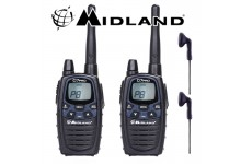 12Km Midland G7 Pro Dual Band Long Range Two Way PMR 446 Licence Free Radio Twin Pack + 2 x Comtech CM-50PT Headsets