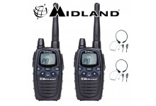 12Km Midland G7 Pro Dual Band Long Range Two Way PMR 446 Licence Free Radios with 2 x Comtech CM-415TH PTT/VOX Throat mics for Skiing & Go KartinG - Twin pack